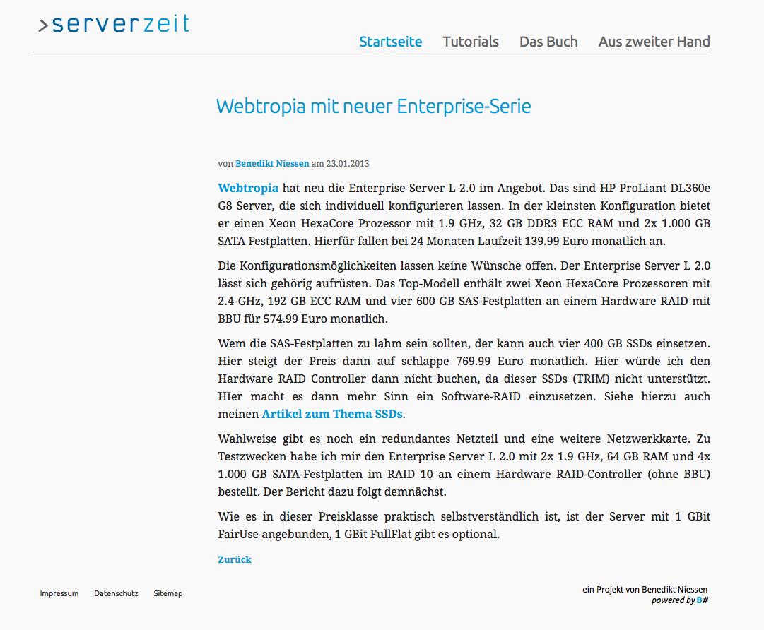 serverzeit.de - webtropia mit neuer Enterprise-Serie
