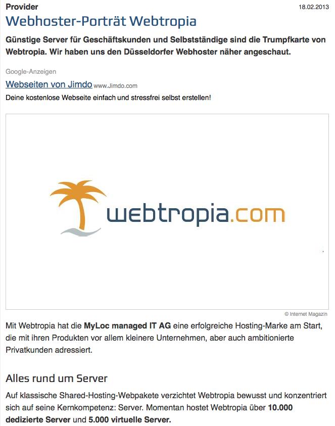 PC-Magazin Porträt über webtropia.com
